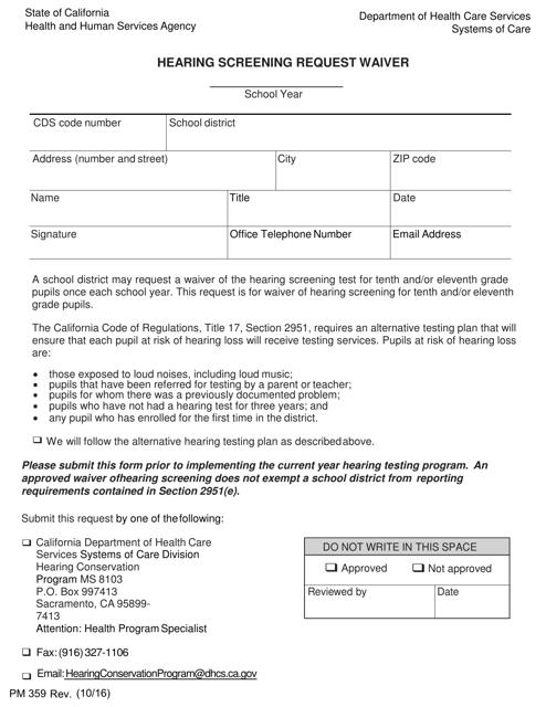 Form PM359  Printable Pdf