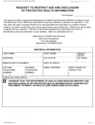 Form DHCS 6240 Request To Restrict Use And Disclosure Of Protected Health Information - California