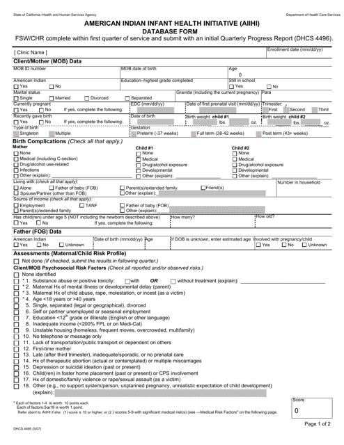 Form DHCS 4496 Fillable Pdf