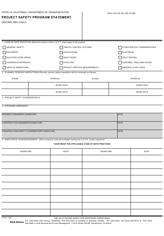 Form CEM-0602 Download Fillable PDF, Project Safety Program
