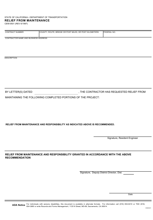 Form CEM-0501  Printable Pdf