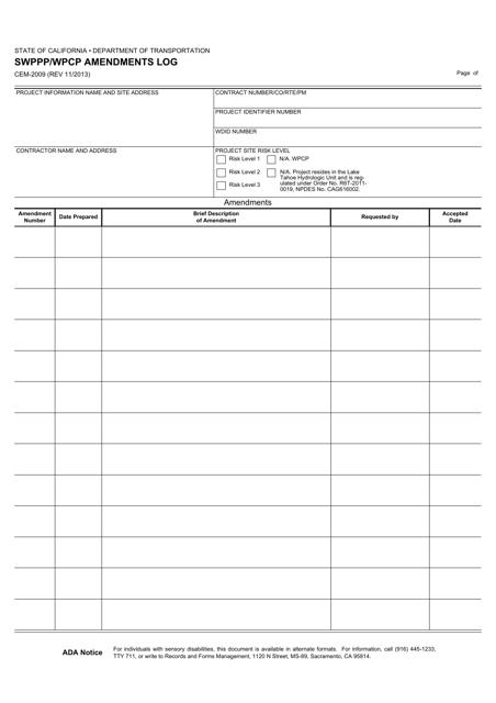 Form CEM-2009  Printable Pdf