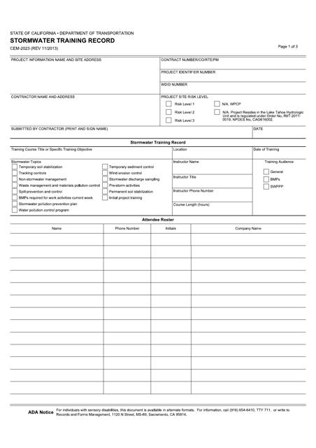 Form CEM-2023  Printable Pdf