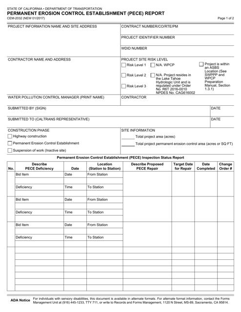 Form CEM-2032  Printable Pdf