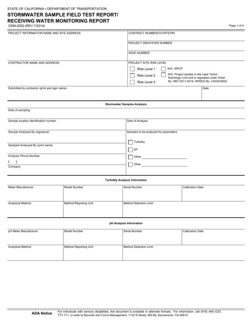 Form CEM-2052  Printable Pdf