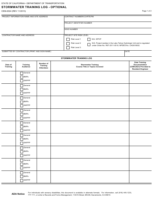 Form CEM-2024  Printable Pdf