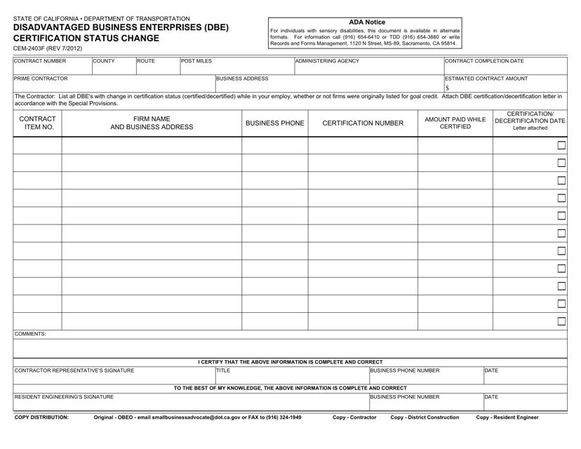 Form CEM-2403F  Printable Pdf