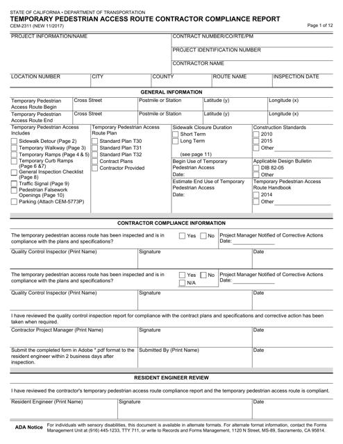 Form CEM-2311  Printable Pdf