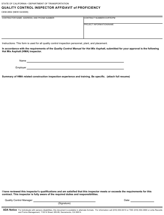 Form CEM-3802  Printable Pdf