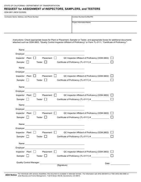 Form CEM-3801  Printable Pdf