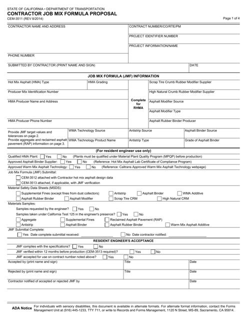 Form CEM-3511  Printable Pdf
