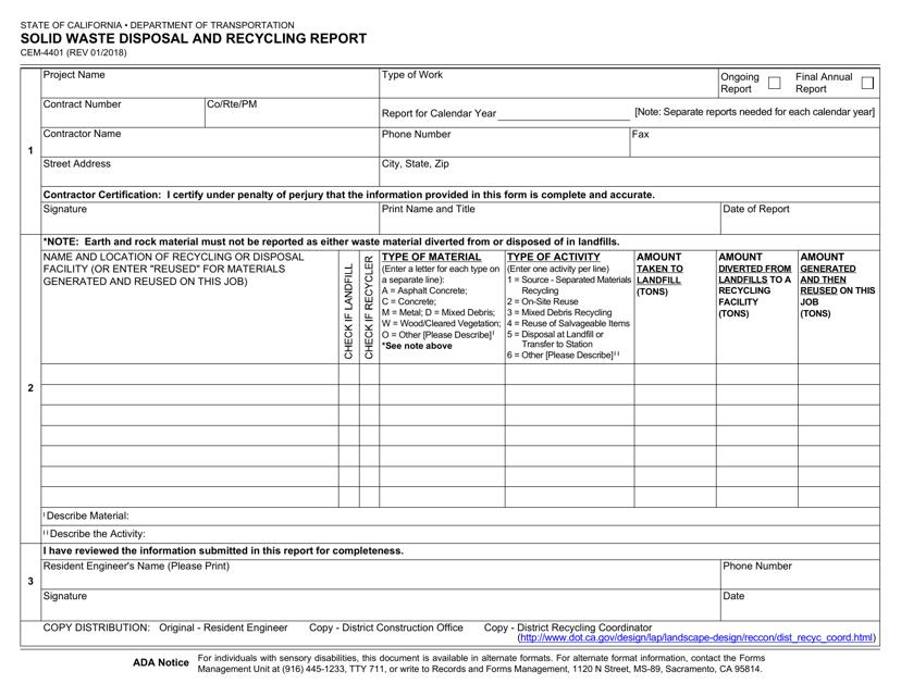 Form CEM-4401  Printable Pdf