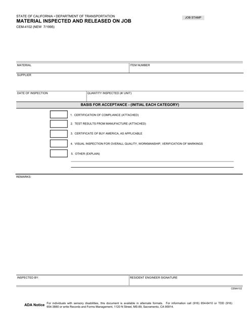 Form CEM-4102  Printable Pdf