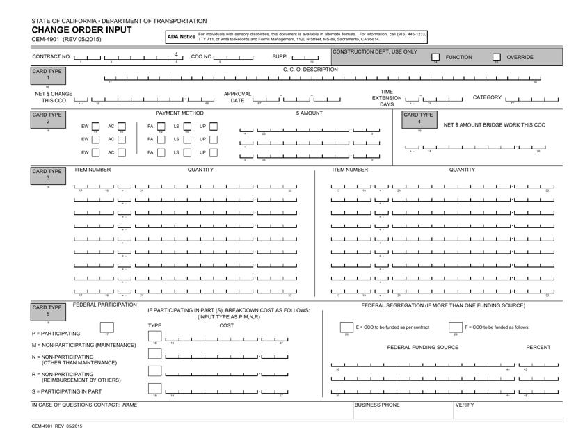 Form CEM-4901  Printable Pdf