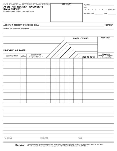 Form CEM-4601  Printable Pdf