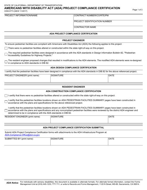 Form CEM-5773  Printable Pdf