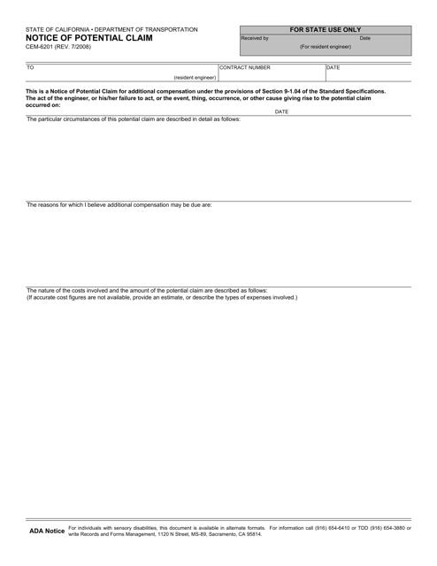 Form CEM-6201  Printable Pdf