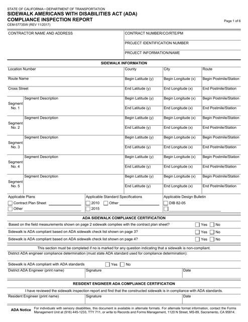Form CEM-5773SW  Printable Pdf