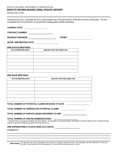 Form CEM-6203  Printable Pdf