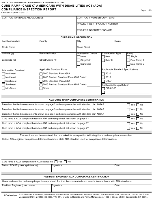 Form CEM-5773C  Printable Pdf