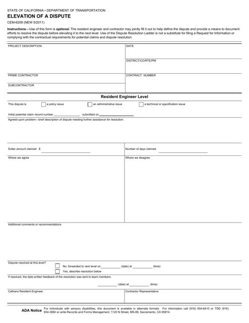 Form CEM-6209  Printable Pdf