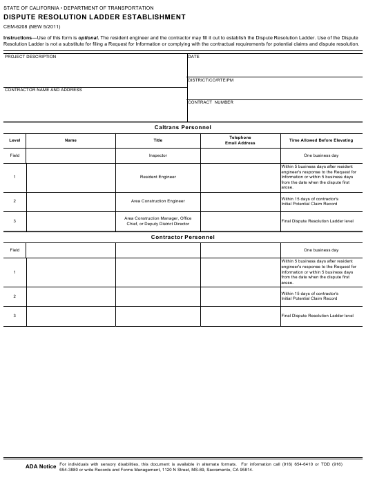Form CEM-6208  Printable Pdf