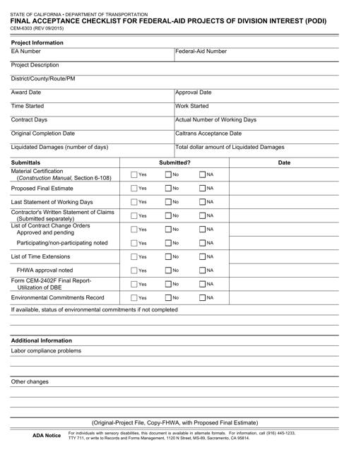 Form CEM-6303  Printable Pdf