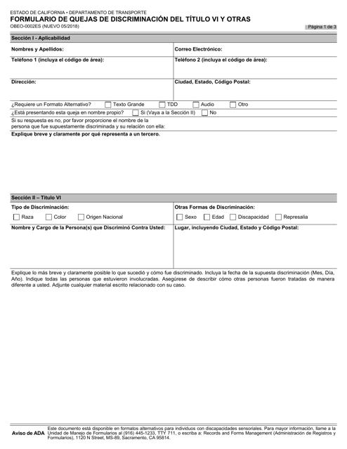 Formulario OBEO-0002ES  Printable Pdf