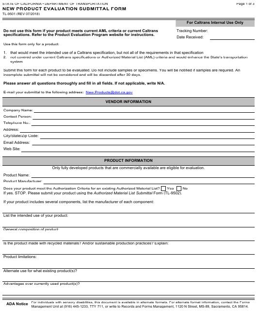 Form TL-9501  Printable Pdf