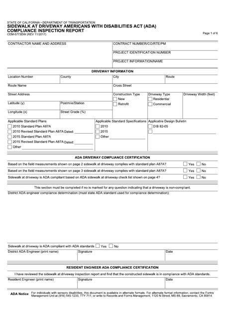 Form CEM-5773DW Download Fillable PDF, Sidewalk at Driveway