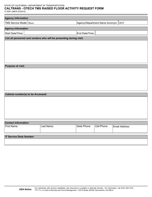 Form IT-0041  Printable Pdf
