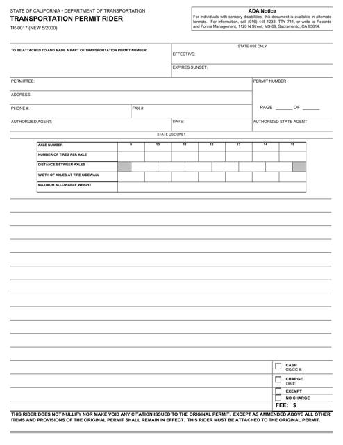 Form TR-0017  Printable Pdf