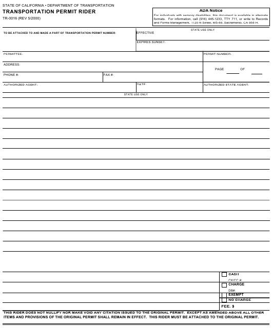 Form TR-0016  Printable Pdf