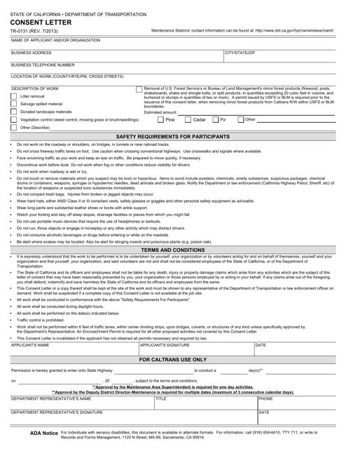 Form TR-0131  Printable Pdf