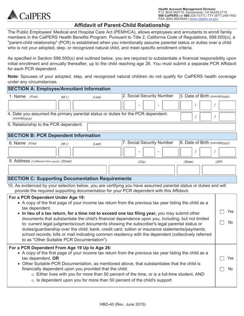 Form HBD-40  Printable Pdf