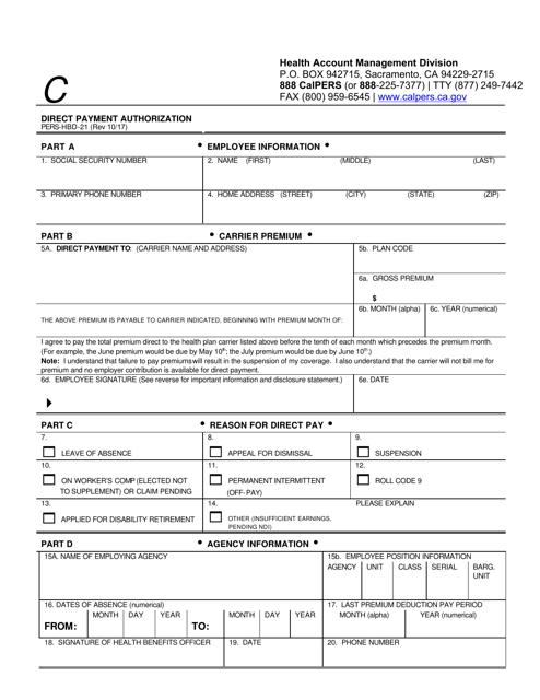 Form PERS-HBD-21  Printable Pdf
