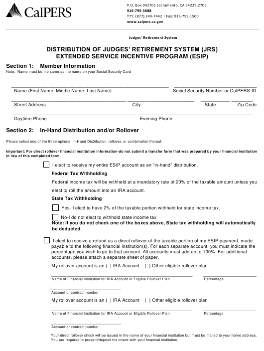 """Distribution of Judges' Retirement System (Jrs) Extended Service Incentive Program (Esip)"" - California Download Pdf"