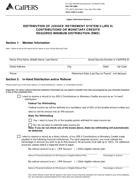 """""""Distribution of Judges' Retirement System II (Jrs II) Contributions or Monetary Credits Required Minimum Distribution (Rmd)"""" - California Download Pdf"""