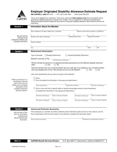 Form PERS-BSD-TDA  Printable Pdf