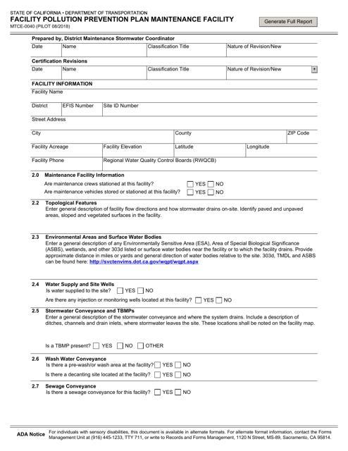 Form MTCE-0040  Printable Pdf