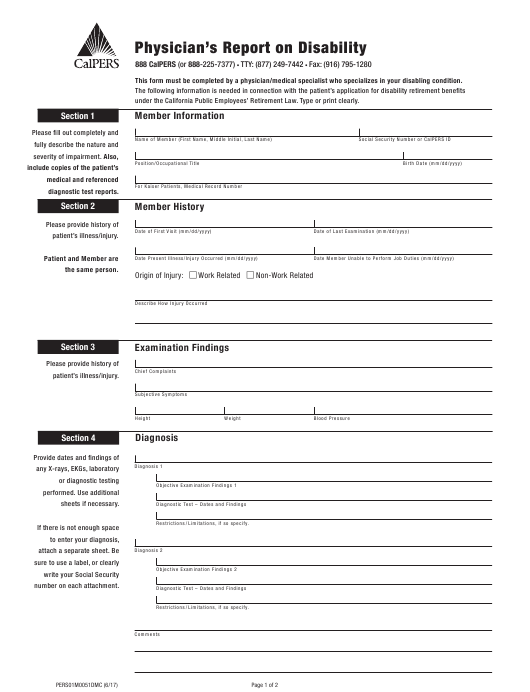 """""""Physician's Report on Disability"""" - California Download Pdf"""