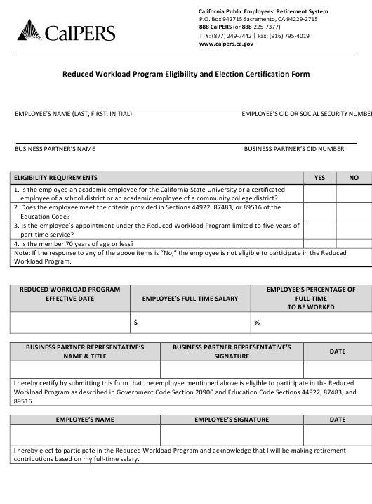"""""""Reduced Workload Program Eligibility and Election Certification Form"""" - California Download Pdf"""