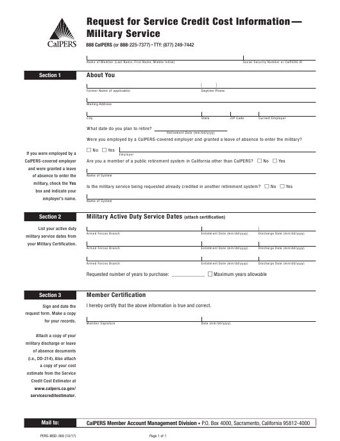 Form PERS-MSD-369  Printable Pdf