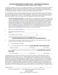 """Citizenship/Immigration Status Verification Form - '""affidavit'"" - Farm Products Program"" - Colorado"