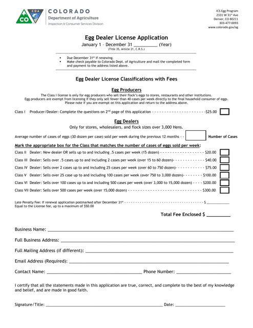 """""""Egg Dealer License Application Form"""" - Colorado Download Pdf"""