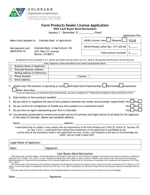 """Farm Products Dealer License Application Form With Cash Buyer Affidavit"" - Colorado Download Pdf"