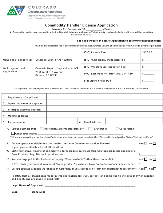 """Commodity Handler License Application Form"" - Colorado Download Pdf"