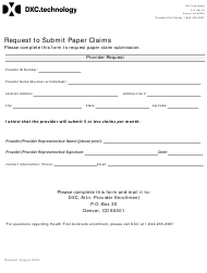 """Request to Submit Paper Claims Form"" - Colorado"