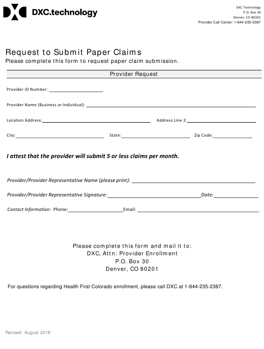 """Request to Submit Paper Claims Form"" - Colorado Download Pdf"