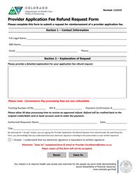 Provider Application Fee Refund Request Form - Colorado
